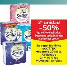 Oferta de En papel higiénico SCOTTEX Megarollo, Acolchado y Original, iguales o combinados  por
