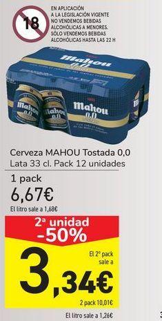 Oferta de Cerveza MAHOU Tostada 0,0  por 6,67€