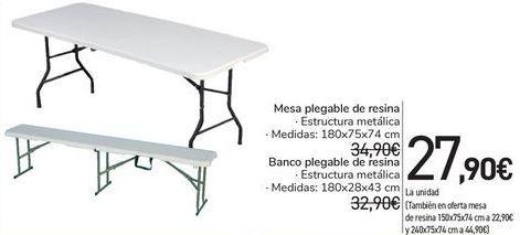 Oferta de Mesa plegable de resina, Banco plegable de resina  por 27,9€