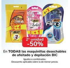 Oferta de En TODAS Las maquinillas desechables de afeitado y depilación BIC, iguales o combinadas  por