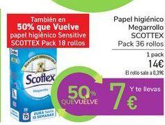 Oferta de Papel higiénico Megarrollo SCOTTEX por 14€
