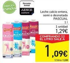 Oferta de Leche calcio entera, semi o desnatada PASCUAL por 1,29€