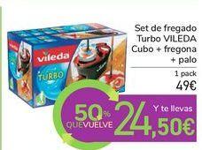 Oferta de Set de fregado Turbo VILEDA Cubo + fregona + palo por 49€
