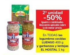 Oferta de En TODAS las legumbres cocidas LUENGO y garbanzos y lentejas EL HOSTAL por