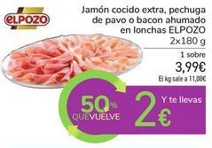 Oferta de Jamón cocido extra, pechuga de pavo o bacon ahumado en lonchas EL POZO por 3,99€