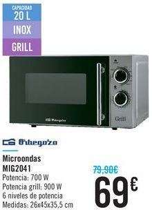 Oferta de Microondas MIG2041 Orbegozo  por 69€