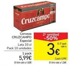 Oferta de Cerveza CRUZCAMPO  por 5,99€