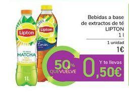Oferta de Bebidas a base de extractos de té LIPTON por 1€