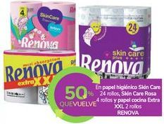 Oferta de En papel higiénico Skin Care, Skin Care Rosa y papel cocina Extra XXL RENOVA por