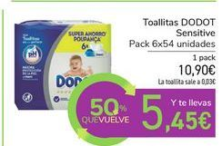 Oferta de Toallitas DODOT Sensitive por 10,9€