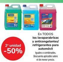 Oferta de En TODOS los lavaparabrisas y anticongelantes/ refrigerantes para automovil, iguales o combinados  por