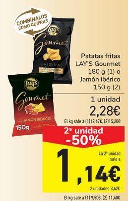 Oferta de Patatas fritas LAY'S Gourmet o Jamón ibérico por 2,28€