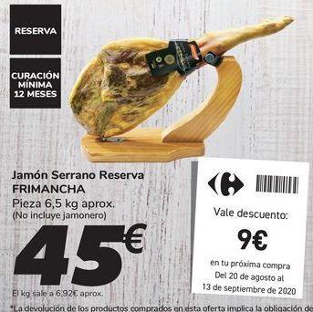 Oferta de Jamón Serrano Reserva FRIMANCHA  por 45€