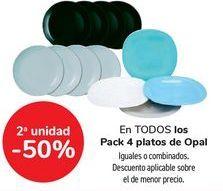 Oferta de En TODOS los Pack 4 platos de Opal, iguales o combinados  por
