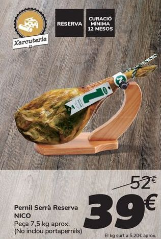 Oferta de Jamón Serrano Reserva NICO por 39€