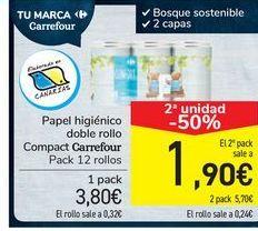 Oferta de Papel higiénico doble rollo Compact Carrefour  por 3,8€
