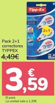 Oferta de Pack 2+1 correctores TYPPEX por 3,59€