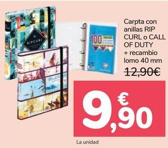 Oferta de Carpeta con anillas RIP CURLS o CALL OF DUTY + recambio lomo  por 9,9€