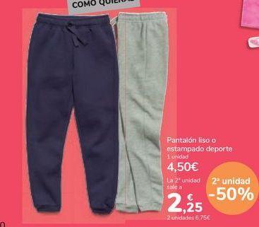 Oferta de Pantalón liso o estampado deporte por 4,5€