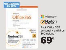 Oferta de Pack Office 365 personal+antivirus 360 deluxe  por 69€