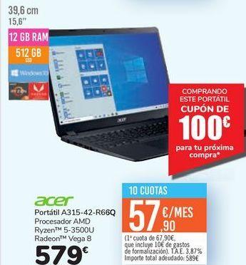 Oferta de Portátil A315-42-R66Q Acer  por 579€