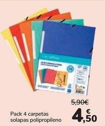 Oferta de Pack 4 carpetas solapas polipropileno  por 4,5€