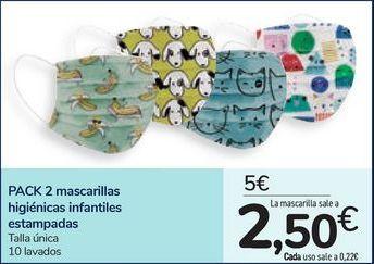 Oferta de PACK 2 mascarillas higiénicas estampadas por 5€