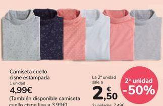 Oferta de Camiseta cuello cisne estamapada por 4,99€