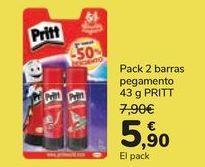 Oferta de Pack 2 barras pegamento Pritt por 5,9€