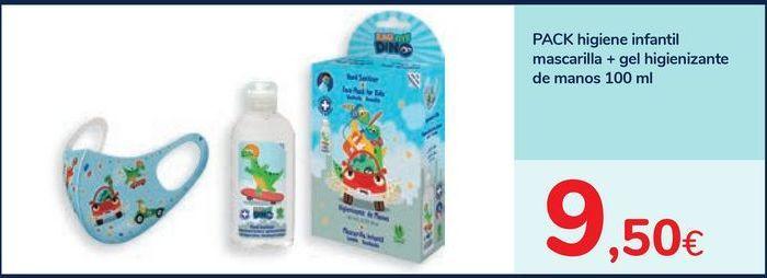 Oferta de PACK higiene infantil mascarilla + gel higienizante de manos 100 ml por 9,5€