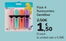 Oferta de Pack 4 fluorescentes Carrefour  por 1,5€