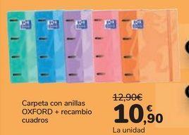 Oferta de Carpeta con anillas OXFORD + recambio cuadros  por 10,9€