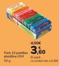 Oferta de Pack 10 pastillas plastilina JOVI  por 3,6€