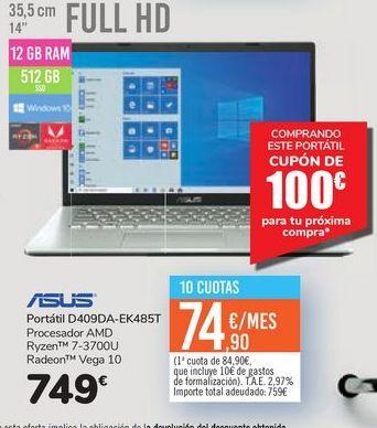 Oferta de Portátil D409DA-EK485T por 749€