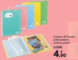 Oferta de Carpeta 30 fundas polipropileno colores pastel  por 4,9€