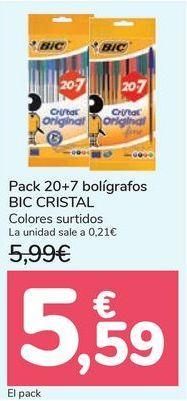 Oferta de Pack 20+7 bolígrafos BIC CRISTAL  por 5,59€