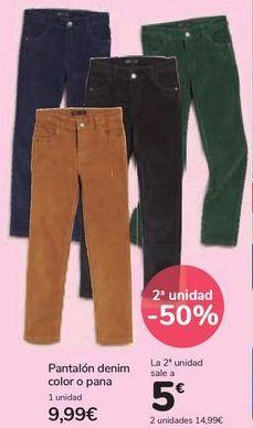 Oferta de Pantalón denim color o pana por 9,99€