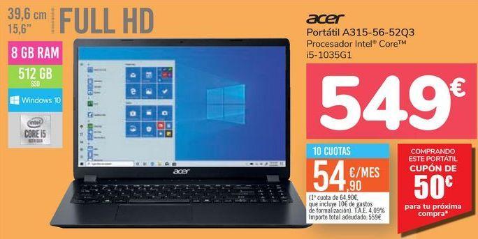 Oferta de Portátil A315-56-52Q3 Acer  por 549€