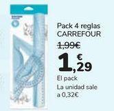 Oferta de Pack 4 reglas Carrefour por 1,29€