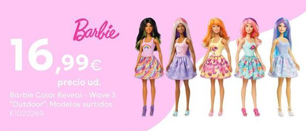 "Oferta de Barbie Color Reveal - Wave 3 ""Outdoor"". Modelos Surtidos por 16,99€"