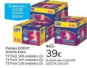Oferta de Pañales DODOT Activity Extra por 39€