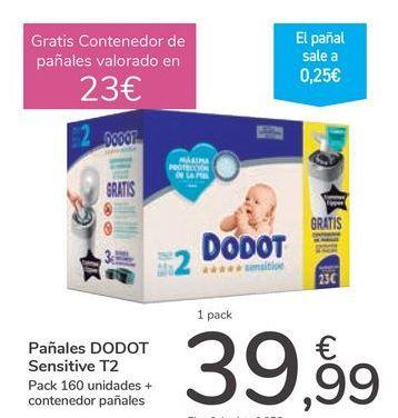 Oferta de Pañales DODOT Sensitive T2 por 39,99€