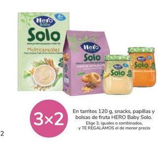 Oferta de En tarritos 120g, snack, papillas y bolsas de fruta HERO Baby Solo por