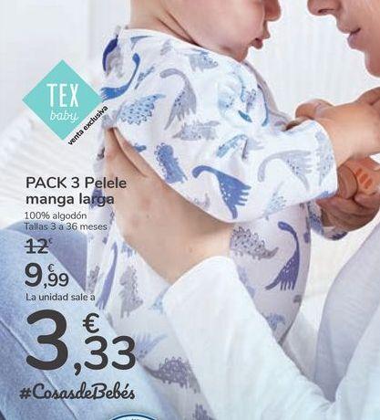 Oferta de PACK 3 Pelele manga larga por 9,99€