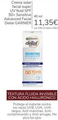 Oferta de Crema solar facial super UV Fluid SPF 50+ Sensitive Advanced Facial Delial GARNIER  por 11,35€