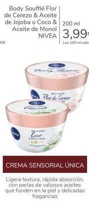 Oferta de Body Soufflé Flor de Cerezo & Aceiite de jojoba o Coco & Aceite de Monoi NIVEA  por 3,99€