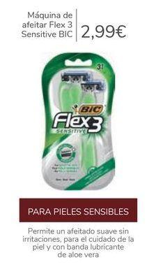 Oferta de Máquina de afeitar Flex 3 sensitive BIC por 2,99€