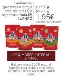 Oferta de Garbanzos, guisantes o lenteja coral sin piel o soja texturizada LUENGO por 1,95€