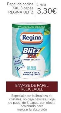 Oferta de Papel de cocina XXL 3 capas REGINA BLITZ  por 3,3€