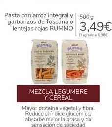 Oferta de Pasta con arroz integral y garbanzos de Toscana o lentejas rojas RUMMO por 3,49€